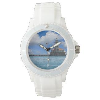 絵画的なシカゴ港の灯台 腕時計