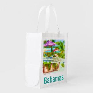 絵画的なバハマの夏期休暇のビーチ場面 エコバッグ