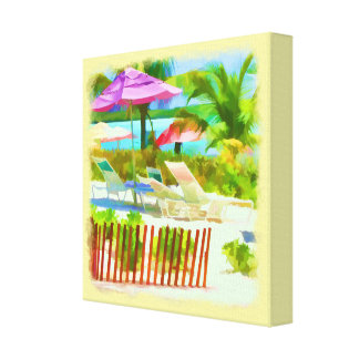 絵画的なバハマの夏期休暇のビーチ場面 キャンバスプリント