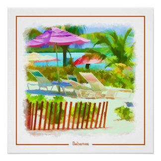 絵画的なバハマの夏期休暇のビーチ場面 ポスター