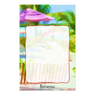 絵画的なバハマの夏期休暇のビーチ場面 便箋