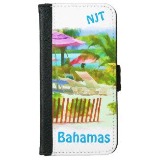 絵画的なバハマの夏期休暇のビーチ場面 iPhone 6/6S ウォレットケース