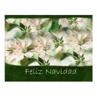 絵画的なピンクおよび白いポインセチア1 - Feliz N ポストカード