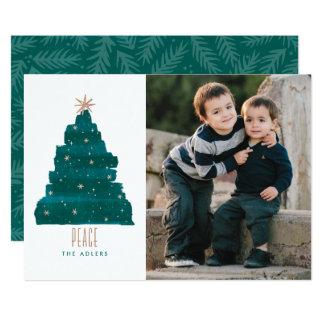 絵画的な木のクリスマスの写真カード カード
