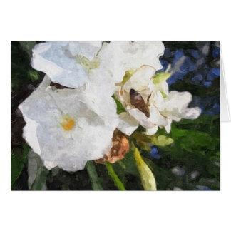 絵画的な蜂1を持つ独身ので白いオレアンダー カード