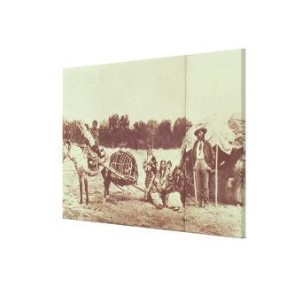絶えず動いているシャイエンヌのインディアン1878年(b/wの写真) キャンバスプリント