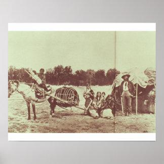 絶えず動いているシャイエンヌのインディアン1878年(b/wの写真) ポスター