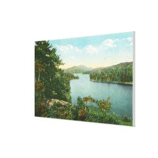 絶壁の島からのより低いSaranac湖の眺め キャンバスプリント