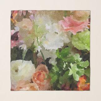絶妙な花束のモモの、ピンクおよび緑の水彩画 スカーフ
