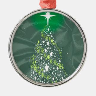 絹のクリスマスツリー メタルオーナメント
