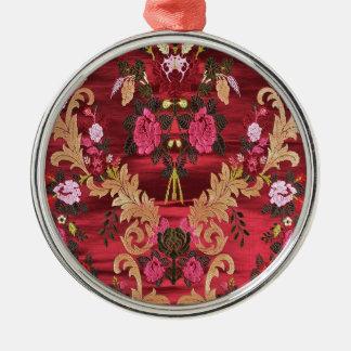 絹のブロケードの花の芸術インド メタルオーナメント