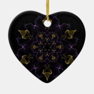 絹の紫色及び金ゴールドの情熱の炎 セラミックオーナメント