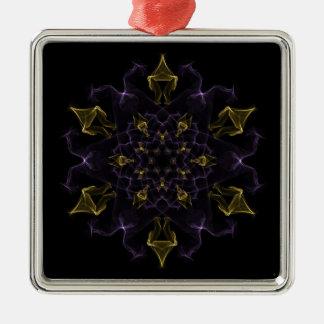 絹の紫色及び金ゴールドの情熱の炎 メタルオーナメント