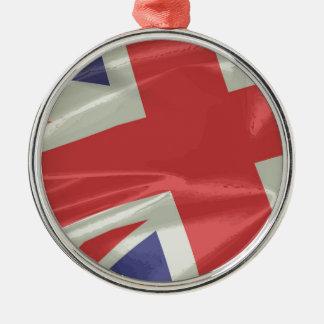 絹の英国国旗の旗のクローズアップ メタルオーナメント