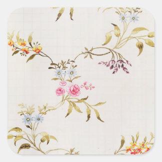 絹mのためのカーネーションそしてバラの花柄 スクエアシール