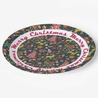 継ぎ目が無いパッチワークのクリスマスパターン紙皿 ペーパープレート