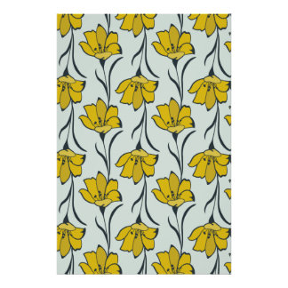 継ぎ目が無い花のキンボウゲのエレガントなパターン ポスター