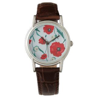 継ぎ目が無い花のケシおよびバラパターン。 Summe 腕時計