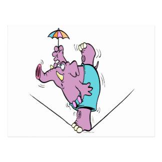 綱渡りのおもしろいなサーカス象 ポストカード