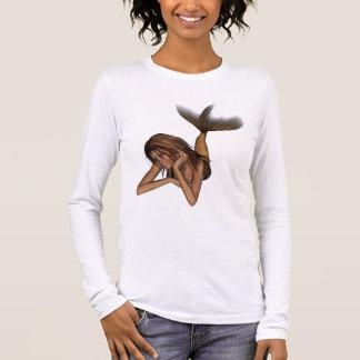 網目版オリジナル色を熟考している3D人魚 長袖Tシャツ