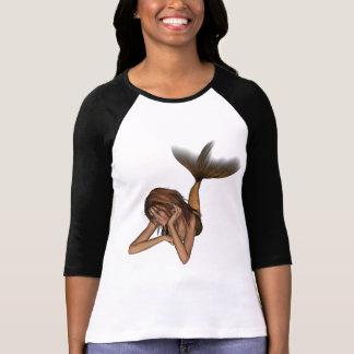 網目版オリジナル色を熟考している3D人魚 Tシャツ