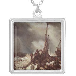網1868年で引っ張っている漁師 シルバープレートネックレス