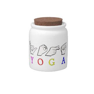 綴られるヨガASL指 陶器製キャンディジャー
