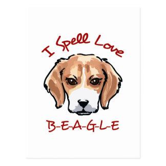 綴り愛ビーグル犬 ポストカード