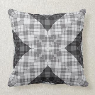 綿の灰色の格子縞#1 Vitaの枕 クッション