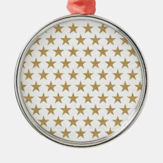綿の質の星の金ゴールドパターン メタルオーナメント