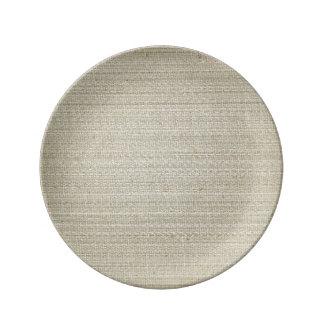綿の麻布の背景 磁器プレート