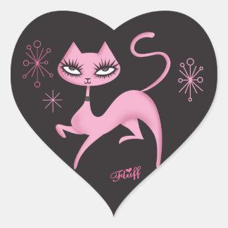 綿毛によるかわいい意気揚々と歩く猫のステッカー ハートシール