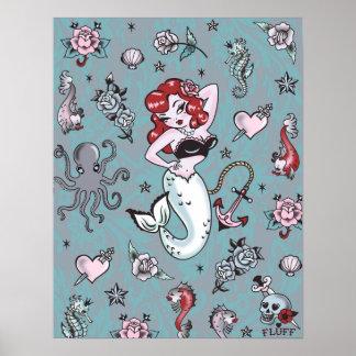 綿毛のモーリーの人魚ポスター ポスター