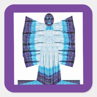 綿織物99から成っているブルームーンの天使の蝶 スクエアシール