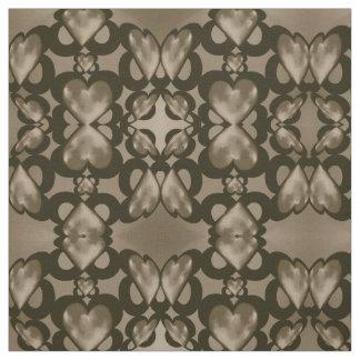 綿織物-タン及び黒のキスをするなハート ファブリック