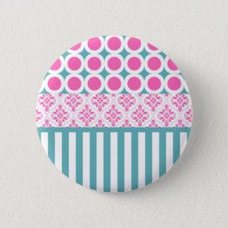 綿菓子のピンクの青い円のストライプなダマスク織Coll 5.7cm 丸型バッジ