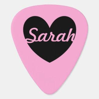 綿菓子のピンクの黒いポルカのハート ギターピック