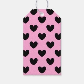 綿菓子のピンクの黒いポルカのハート ギフトタグ