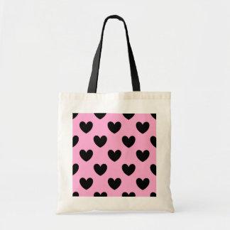 綿菓子のピンクの黒いポルカのハート トートバッグ