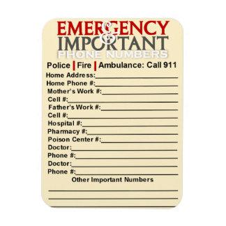 """緊急および重要な電話番号3"""" x4""""磁石 マグネット"""