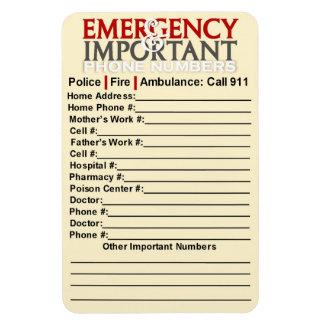 """緊急および重要な電話番号4"""" x6""""磁石 マグネット"""