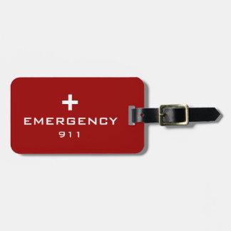 緊急の医学IDのラベル ラゲッジタグ