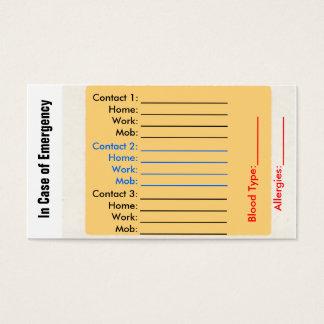 緊急の接触の財布カード 名刺