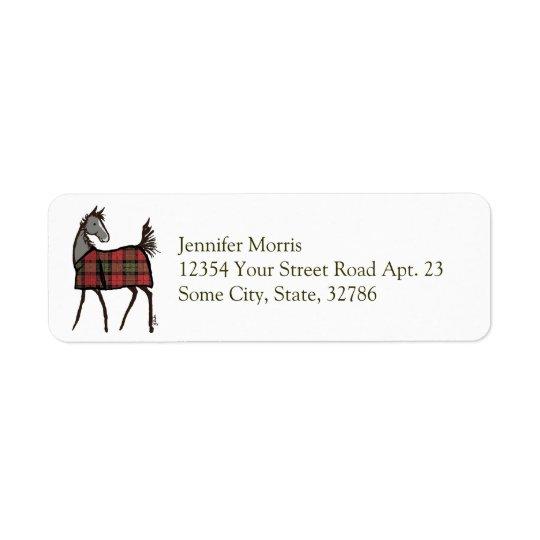 総括的なクリスマスの休日の馬の子馬 返信用宛名ラベル