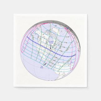 総日食2017の全体的な道 スタンダードカクテルナプキン