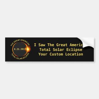 総日食8.21.2017米国のカスタムの位置 バンパーステッカー