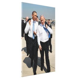総理大臣ネタニヤフ及び大統領オバマ キャンバスプリント