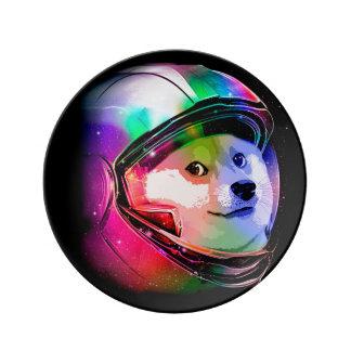 総督の宇宙飛行士カラフル犬-総督shibe総督犬 磁器プレート