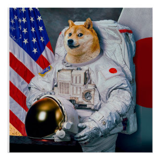 総督の宇宙飛行士総督shibe総督の犬かわいい総督 ポスター
