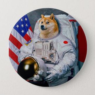 総督の宇宙飛行士総督shibe総督の犬かわいい総督 10.2cm 丸型バッジ